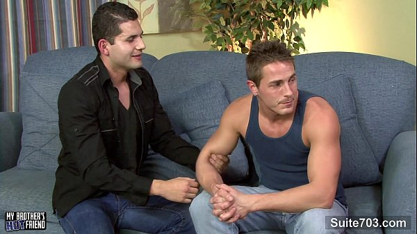 Brunette gay gives blowjob in POV style